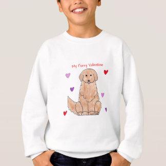 ゴールデン・リトリーバーの毛皮で覆われたバレンタイン スウェットシャツ
