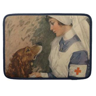 ゴールデン・リトリーバーを持つヴィンテージの赤十字のナース MacBook PROスリーブ