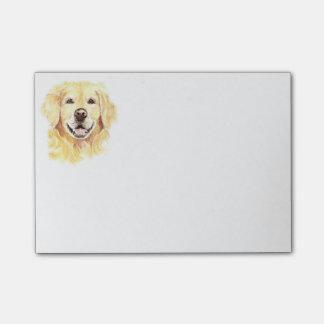 ゴールデン・リトリーバー犬のペットの水彩画 ポストイット