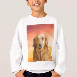 ゴールデン・リトリーバー犬水色の芸術の油絵 スウェットシャツ