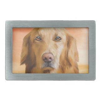 ゴールデン・リトリーバー犬水色の芸術の油絵 長方形ベルトバックル