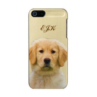 ゴールデン・リトリーバー犬、モノグラム メタリックiPhone SE/5/5sケース