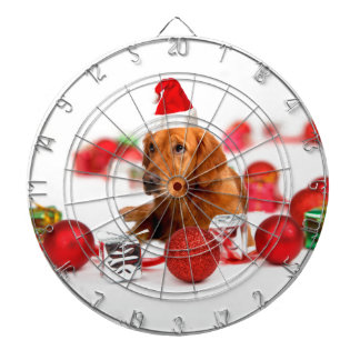 ゴールデン・リトリーバー犬W赤いサンタの帽子のクリスマス ダーツボード