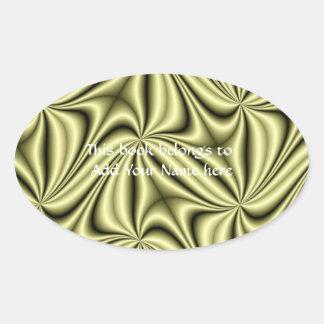 ゴールドラッシュのホログラムのフラクタル 楕円形シール