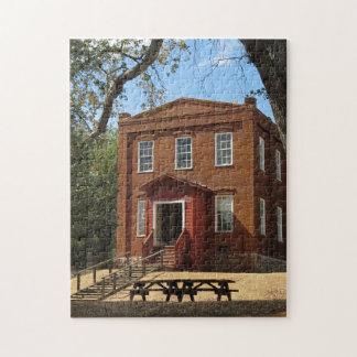 ゴールドラッシュの町の学校の家のパズル ジグソーパズル