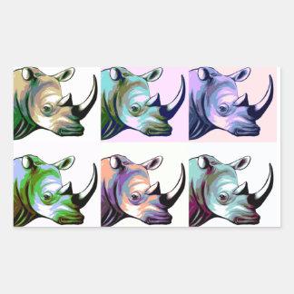 サイのポップアートの衝突 長方形シール