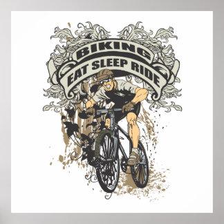 サイクリングに食べて下さい、眠らせて下さい、乗って下さい ポスター