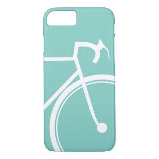 サイクリングのバイクもしくは自転車に乗る人の青緑 iPhone 7ケース