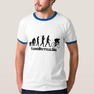 サイクリングの進化の大学スタイルのPlanoBicycleのロゴ Tシャツ