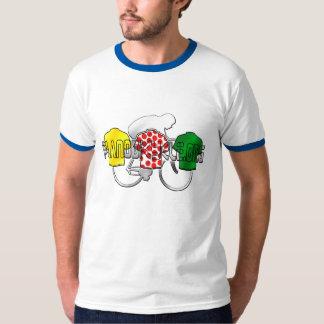 サイクリングのJerseysの黄色の緑および赤の水玉模様 Tシャツ