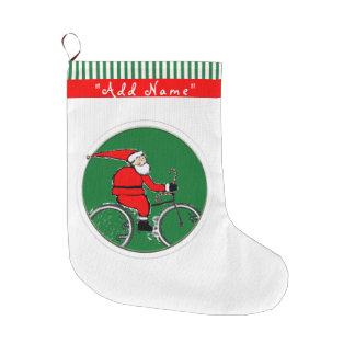 サイクリングサンタ ラージクリスマスストッキング