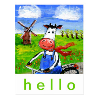 サイクリング牛 ポストカード