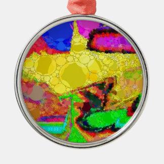 サイケデリックで黄色い紫系統の抽象芸術パターン メタルオーナメント