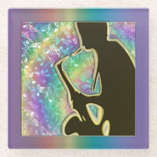 サイケデリックなサクソフォーンの人のジャズ音楽ガラスのコースター ガラスコースター