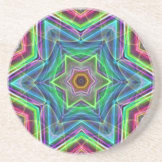 サイケデリックなネオンのカッコいいのモダンな星の形 コースター