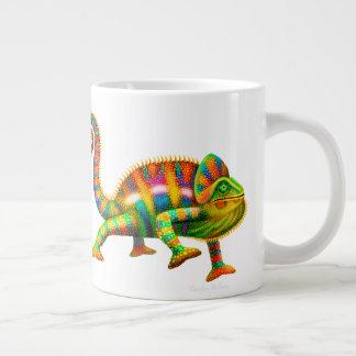 サイケデリックなヒョウのカメレオンのジャンボマグ ジャンボコーヒーマグカップ