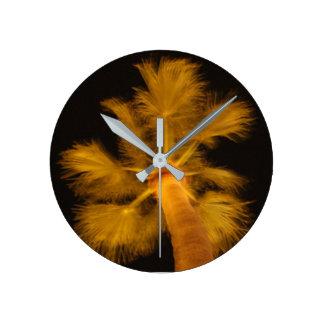 サイケデリックなヤシの木の時計 ラウンド壁時計