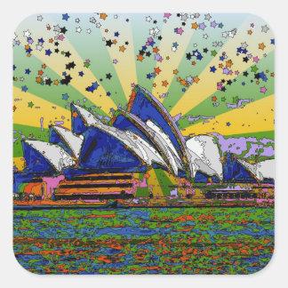 サイケデリックな世界: シドニーオーストラリアのスカイラインA2 スクエアシール