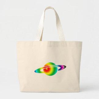 サイケデリックな土星 ラージトートバッグ