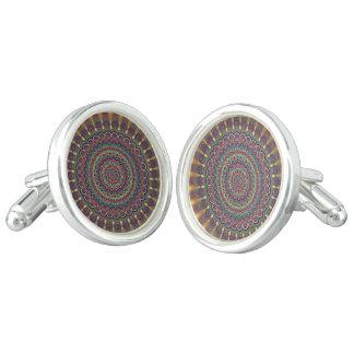 サイケデリックな楕円形の曼荼羅 カフスボタン