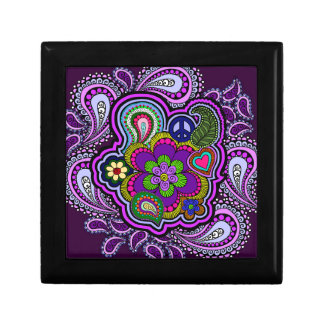 サイケデリックな紫色のペイズリーの装身具箱 ギフトボックス