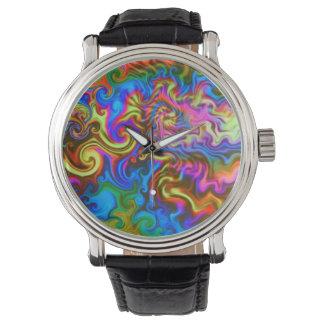 サイケデリックな腕時計常のパーティの時間! ネオン虹 腕時計