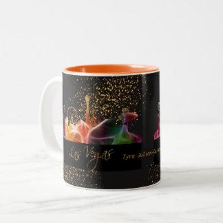 サイケデリックな色のラスベガスのスカイライン ツートーンマグカップ