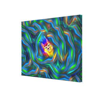 サイケデリックな色の流れのオオヤマネコのポートレート キャンバスプリント