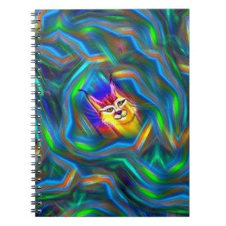 サイケデリックな色の流れのオオヤマネコのポートレート ノートブック