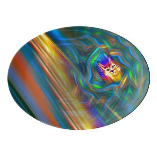 サイケデリックな色の流れのオオヤマネコのポートレート 磁器大皿