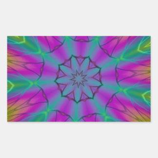 サイケデリックな色の突進の万華鏡のように千変万化するパターン 長方形シール