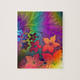 サイケデリックな花柄 ジグソーパズル