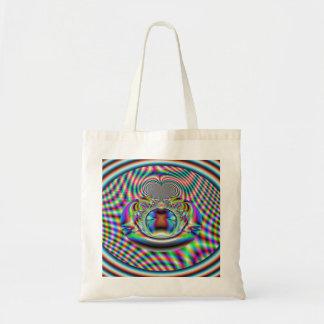 サイケデリックな虹のレーザ光線のフラクタル トートバッグ