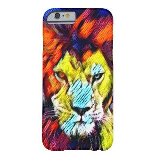 サイケデリックな虹の絞り染めのライオンの野性生物の芸術 BARELY THERE iPhone 6 ケース