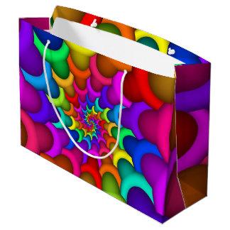 サイケデリックな虹の螺線形のギフトバッグ ラージペーパーバッグ