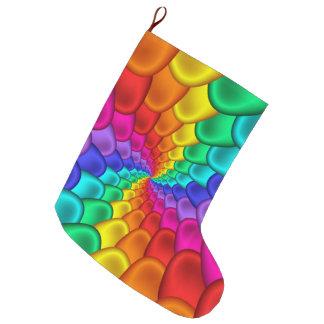 サイケデリックな虹の螺線形のクリスマスのストッキング ラージクリスマスストッキング