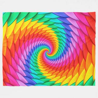 サイケデリックな虹の螺線形のフリースブランケット フリースブランケット