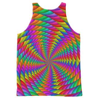 サイケデリックな虹の螺線形のユニセックスなタンクトップ オールオーバープリントタンクトップ