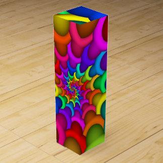 サイケデリックな虹の螺線形のワイン用化粧箱 ワインギフトボックス