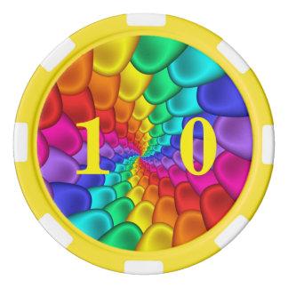 サイケデリックな虹の螺線形の粘土のポーカー用のチップ ポーカーチップ