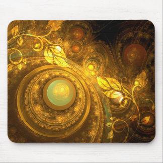 サイケデリックな金ゴールドおよび葉のつる植物のマウスパッド マウスパッド