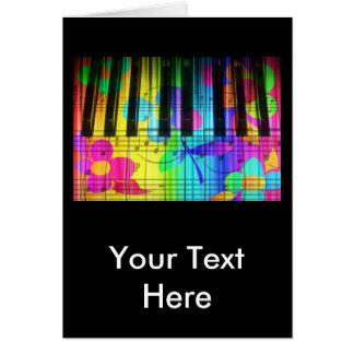 サイケデリックな電気ピアノキーボードおよび花 カード