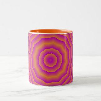 サイケデリックな70年代の蜘蛛の巣 ツートーンマグカップ