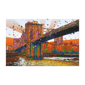 サイケデリックなNYC: ブルックリン橋#1 キャンバスプリント