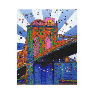 サイケデリックなNYC: ブルックリン橋#2 キャンバスプリント