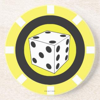 サイコロのカジノの破片のコースターの黄色 コースター