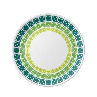 サイコロの緑を転がって下さい 磁器プレート