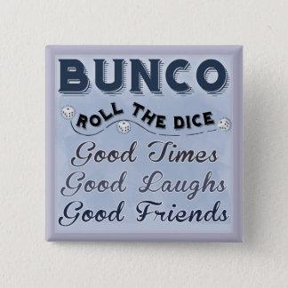 サイコロのBuncoボタンを転がって下さい 5.1cm 正方形バッジ