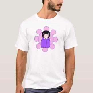 サイズとKokeshiの紫色の人形 Tシャツ