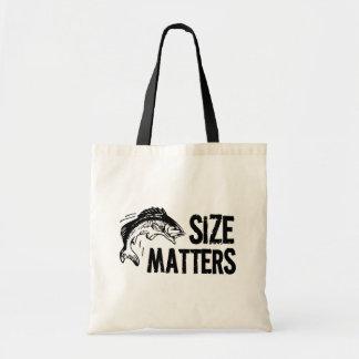 サイズの問題! おもしろいな魚釣りのデザイン トートバッグ